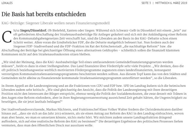 KAG-Beiträge – PRESSEINFORMATION – FDP Stadtverband Siegen