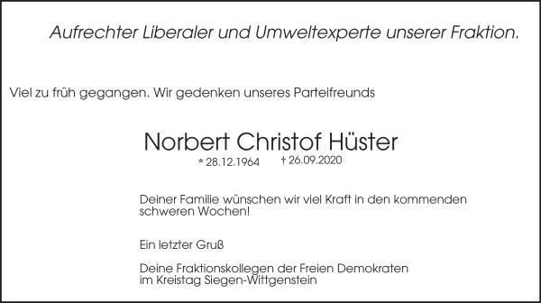 Wir trauern um unseren Parteifreund Norbert Christof Hüster